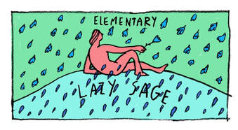 Lazy Sage label sketch by Leslie Herman